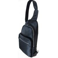 Рюкзак кожаный мужской на одну шлейку  KATANA (Франция) k-69515 BLACK