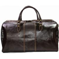 Дорожная кожаная сумка мужская Италия VALENTINA CHOCO 8815G-02