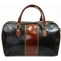 Дорожная мужская кожаная сумка Италия VALENTINA BLACK/BROWN 8815M-01-03