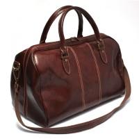 Дорожная сумка кожаная Италия VALENTINA BLACK/RED 8815G-01-08